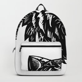 Growling Tiger Woodcut Black and White Backpack