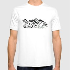 Sleepy Bear Mountain Mens Fitted Tee White MEDIUM