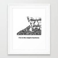 walter white Framed Art Prints featuring Walter White by christoph_loves_drawing