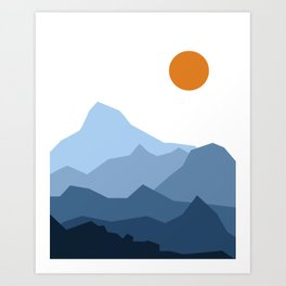 Abstract Blue And Orange Mountain Sunset Landscape Art Print