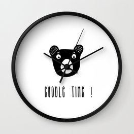 Cuddle time bear black and white illustration Wall Clock