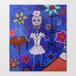 DAY OF THE DEAD NURSE PAINTING  Canvas Print
