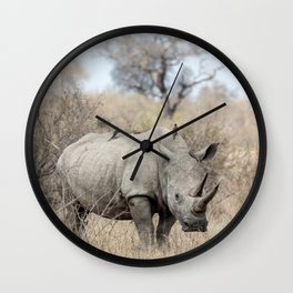 White Rhino Wall Clock