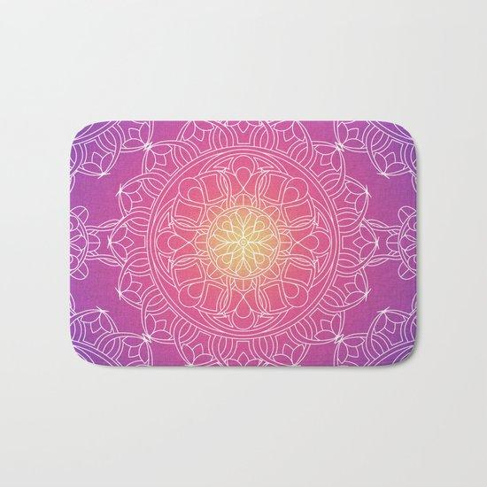 White Lace Mandala in Purple, Pink, and Yellow Bath Mat