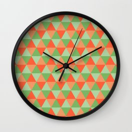 Retro Pattern Triangles Orange/Green Wall Clock