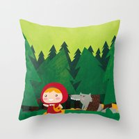 red hood Throw Pillows featuring Little Red Riding Hood by parisian samurai studio