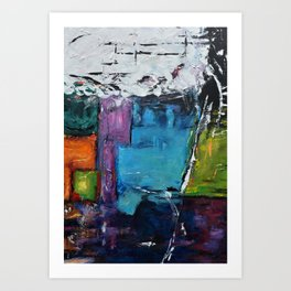 TETRIS, Abstract  Acrylic Painting, colorful mosaic Art Print