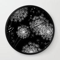 dandelion Wall Clocks featuring DANDELIOn by Monika Strigel