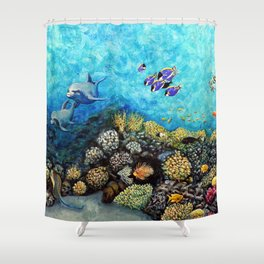 Take Me There - seascape with dolphins Shower Curtain