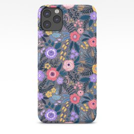 Cute pattern in small flower. Lilac, pink and yellow flowers. iPhone Case