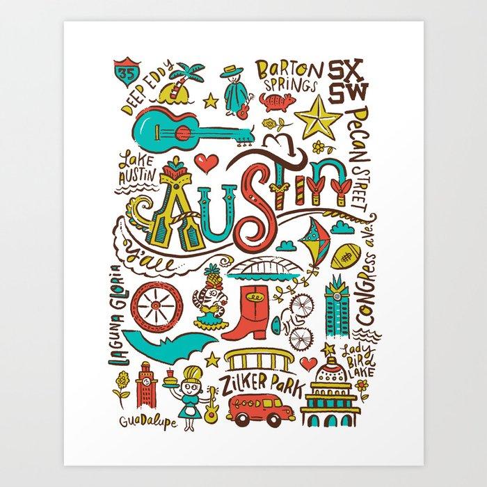 Austin Icons Art Print