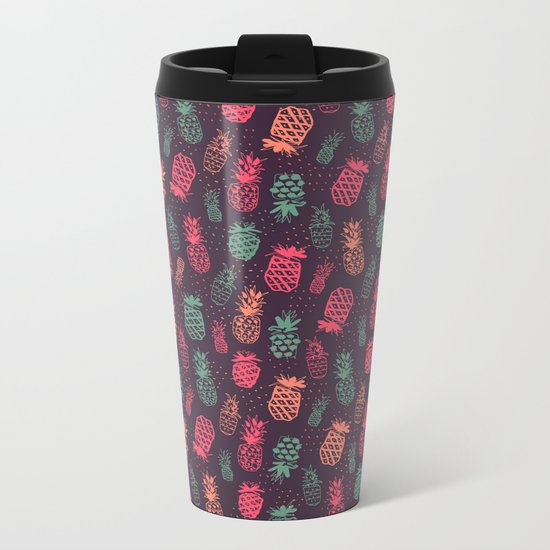 Tropical Pineapple Pattern Metal Travel Mug