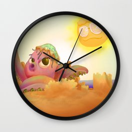 Poulpe plage soleil Wall Clock