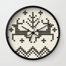 Black Off White Fair Isle Reindeers and Snowflakes Wall Clock