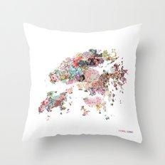 Hong Kong map Throw Pillow