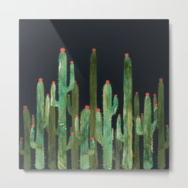 Cactus Four at Night 2.0 Metal Print