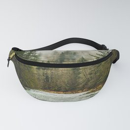 Wanderlust Forest River - Mountain Adventure in Foggy Woods Fanny Pack