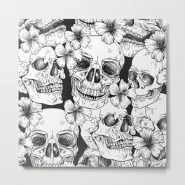 Cool mexican skull heads party celebration design Metal Print
