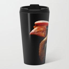Portrait bird on a black background. Bird Rufous hornbill Travel Mug