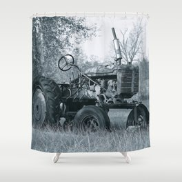 Farmer's Best Friend - B & W Shower Curtain