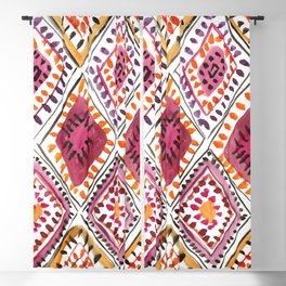 Warm Color Moroccan Rug Beautiful Embroidered Traditional Pattern Watercolor Painting Kilim Tapestry Blackout Curtain