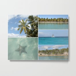 Caribbean Travel Vacation Photo Collage Metal Print