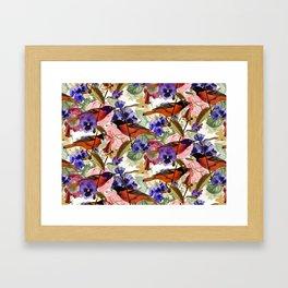 Floral Birds Pattern Framed Art Print
