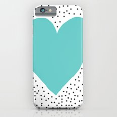 Turquoise heart with grey dots around Slim Case iPhone 6s