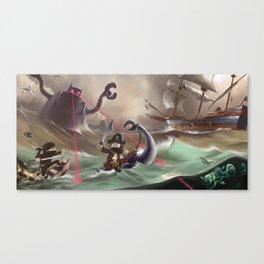 Pirates and Dinosaurs vs Robots and Ninjas Canvas Print