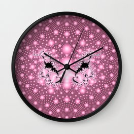 Mostly Pink with a Bit of Black Elegance Wall Clock