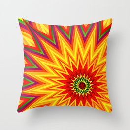 Fractal Sunflower Colorful Abstract Floral Throw Pillow