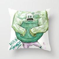 hulk Throw Pillows featuring Hulk by Crooked Octopus