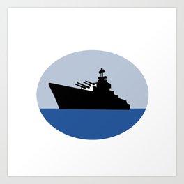 World War Two Battleship Destroyer Oval Retro Art Print