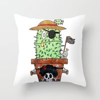 luffy Throw Pillows featuring Cactus Luffy by Vania Pietronigro