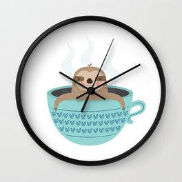 Sloth In A Cup Wall Clock