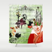 beethoven Shower Curtains featuring Classical music by Design4u Studio