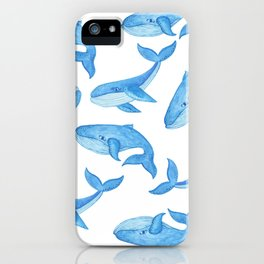 Blue Whales Watercolor iPhone Case
