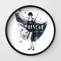 burlesque Wall Clocks featuring BURLESQUE by TOO MANY GRAPHIX