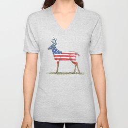 USA Whitetail Deer Unisex V-Neck