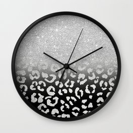 grey silver glitter ombre grey black hand drawn leopard pattern Wall Clock