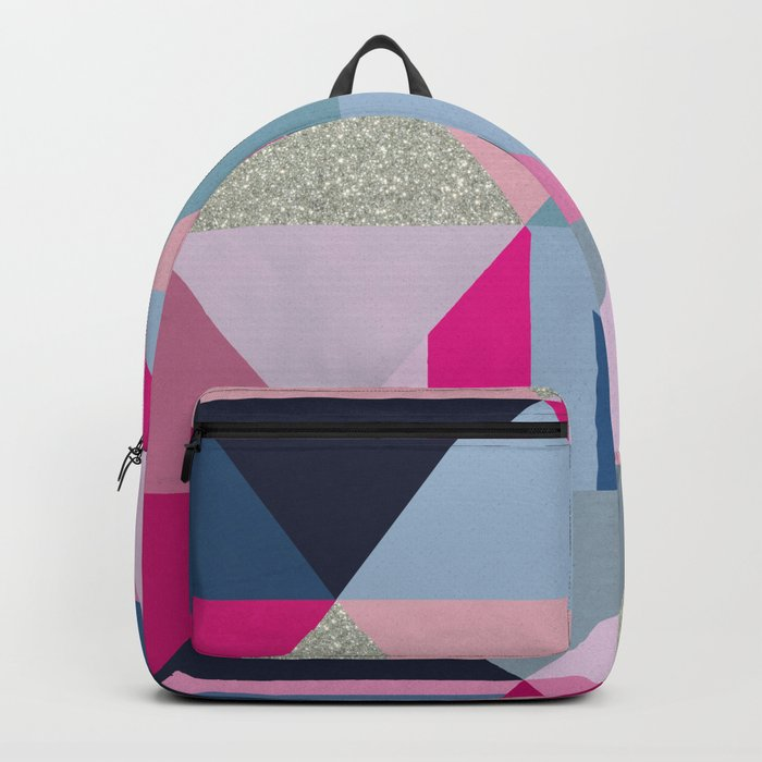 Pink, Blue and Silver Triangles Backpack