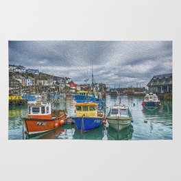 Boats in Mevagissey Harbour. Rug