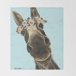 Blue Flower Crown Donkey, Donkey Art Throw Blanket