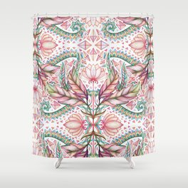 Lily, Leaf & Triangle Pattern – multi-color version Shower Curtain