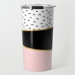 Pink & Gold Geometric Triangle Pattern Travel Mug