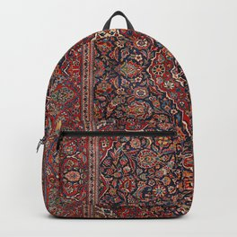 Persia Kurk Kashan Old Century Authentic Colorful Surreal Red Collage Vintage Rug Pattern Backpack