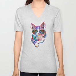 Cat with green eyes Unisex V-Neck