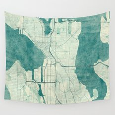 Seattle Map Blue Vintage Wall Tapestry
