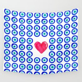 Evil Eye Protected Heart white background Wall Tapestry