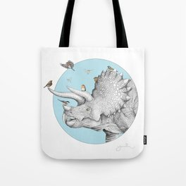 Triceratops and Birdies Tote Bag
